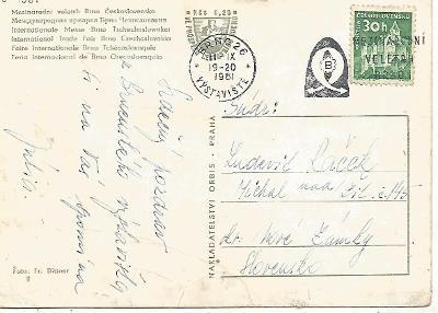 propagační razítko Brno 26 výstaviště 1961, Mezinár. veletrh 3-4381°°