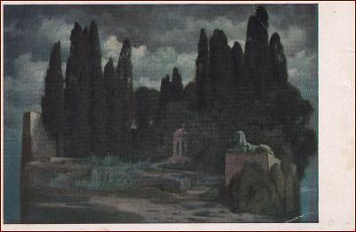 Krajina * socha, ostrov, zahrada, park, večerní motiv, umělecká * X136