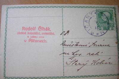 Říčany-Praha východ- firemní lístek-Rudolf Čihák-1912