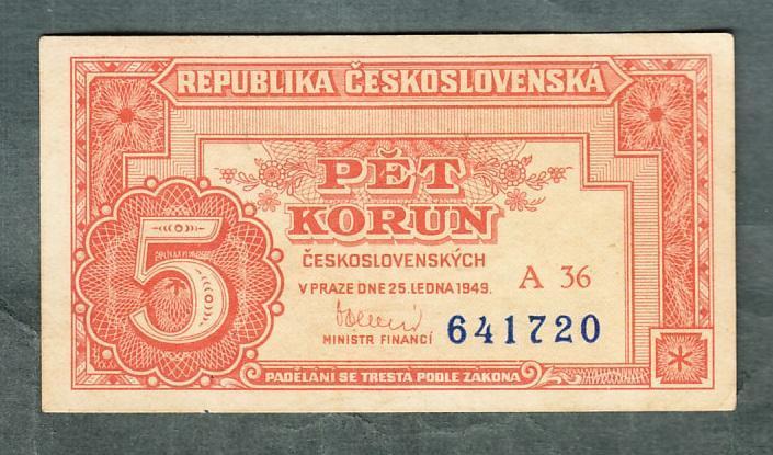5 kčs 1949 serie A36 NEPERFOROVANA stav 0 - Bankovky