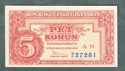 5 kčs 1949 serie A31 NEPERFOROVANA stav 1+