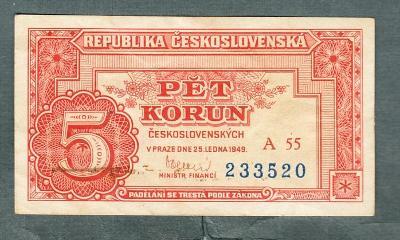 5 kčs 1949 serie A55 NEPERFOROVANA stav 0