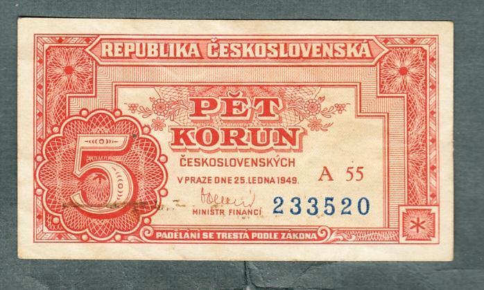 5 kčs 1949 serie A55 NEPERFOROVANA stav 0 - Bankovky