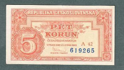 5 kčs 1949 serie A42 NEPERFOROVANA stav 1+