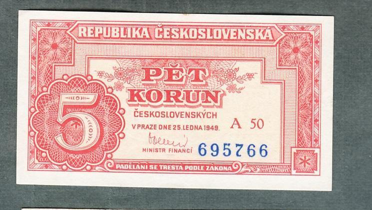 5 kčs 1949 serie A50 NEPERFOROVANA stav 0 - Bankovky