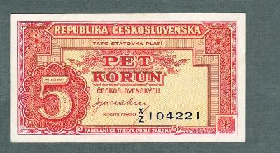 5 kčs 1949 serie XZ NEPERFOROVANA stav 0