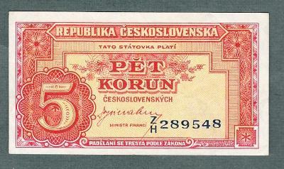 5 kčs 1949 serie ZH NEPERFOROVANA stav 0