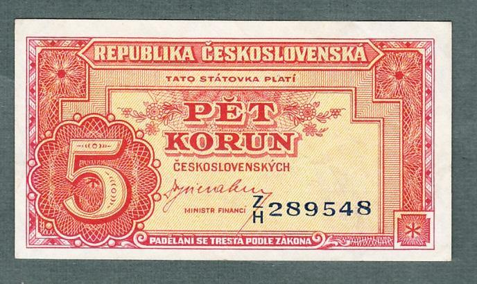 5 kčs 1949 serie ZH NEPERFOROVANA stav 0  - Bankovky