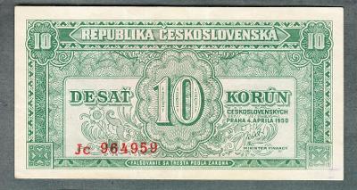 10 kčs 1950 serie JC NEPERFOROVANA