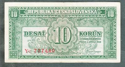 10 kčs 1950 serie YC NEPERFOROVANA
