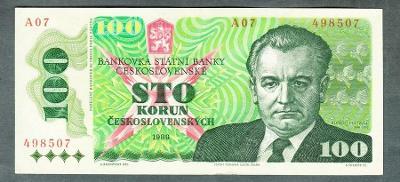 100 kčs 1989 GOTTWALD stav 1