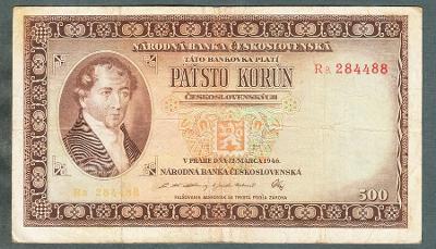500 kčs 1946 serie DVĚ PÍSMENA!! NEPERFOROVANA
