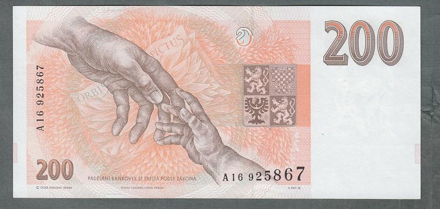 200 kč 1993 serie A !!! proužek kčs - stav UNC - Bankovky