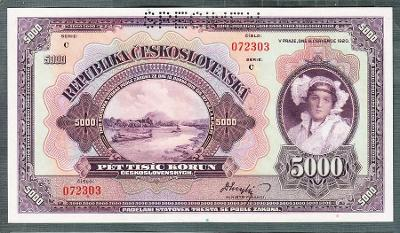 5000 korun 1920 perf. stav UNC