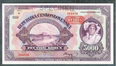 5000 korun 1920 PŘETISK PROTEKTORÁT perf. stav UNC