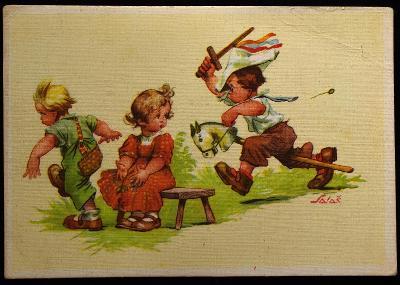 A. SALAČ, Děti, Ilustrace, Humor, sgn. / F-38