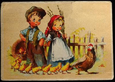 A. SALAČ, Děti, Velikonoce, Ilustrace, Humor, sgn. / F-39
