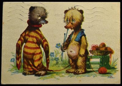 A. SALAČ, Zvířata jako lidé, Ilustrace, Humor, sgn. / F-42