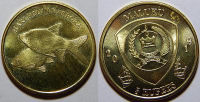 Maluku 5 Rupees 2019 Harleguin Rasbora UNC č27500