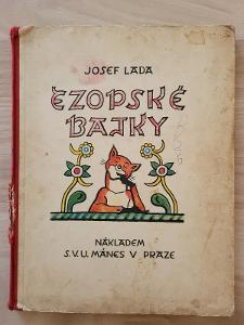 Ezopské bajky Josef Lada 1931 S.V.U.Mánes, Praha - perfektní stav