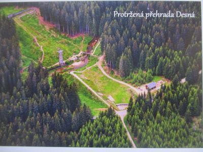 Protržená přehrada Desná letecky Jizerské hory SK