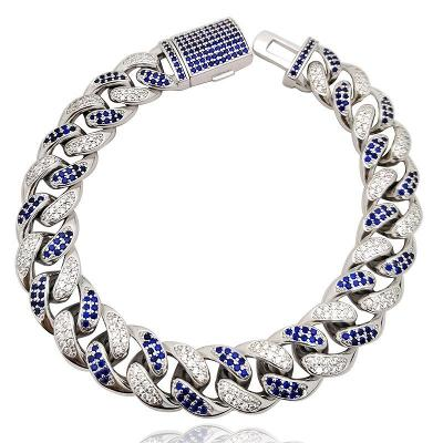 Náramek Cuban Chain Hip-Hop Jewelry Bílé Zlato, Zircon + Spinel 8 inch