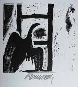 Vladimír Komárek Pták na žebříku dřevoryt originál signatura 1993