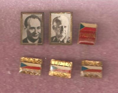 Dubček / Svoboda / vlajky / 1968 / odznaky