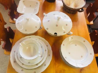 Porcelánový jídelní servis s jemnými kvítky