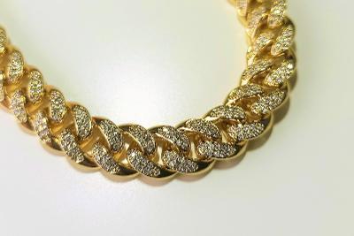 Náramek Cuban Chain Hip-Hop Jewelry Zlatý, White Zirconia 8 inch