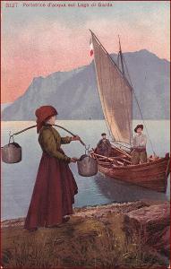 Žena * rybář, lodě, plachetnice, hory, krajina, umělecká * X213