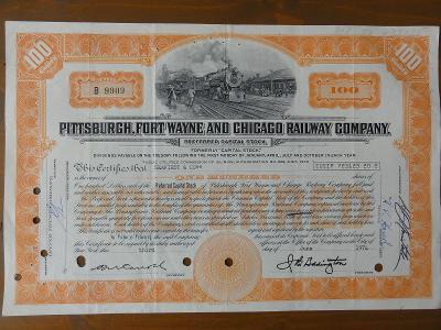 "Akcie ""Pittsburgh, Fort Wayne and Chicago Railway Company"" DEKORATIVNÍ"