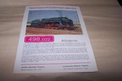 ČSD PARNÍ LOKOMOTIVA 498.022 technické údaje na rubu