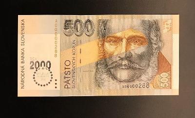 "500 Koruna 1993, série A, přítisk ""BIMILÉNIUM"" 2000 top stav UNC"