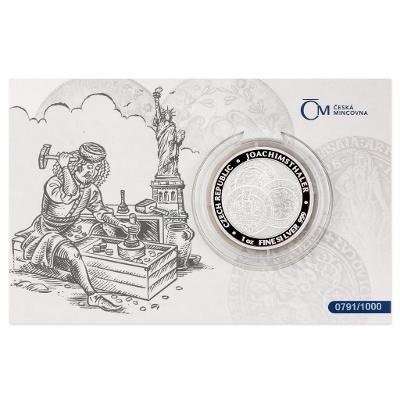 Stříbrná uncová investiční mince Tolar-Česká republika 2021 proof čísl