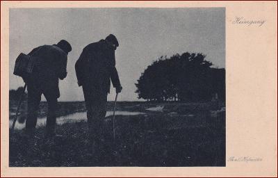Poutník * dvojice, muž, hůl, večerní krajina, umělecká * X239