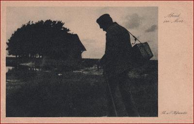 Poutník * muž, hůl, večerní krajina, umělecká * X240