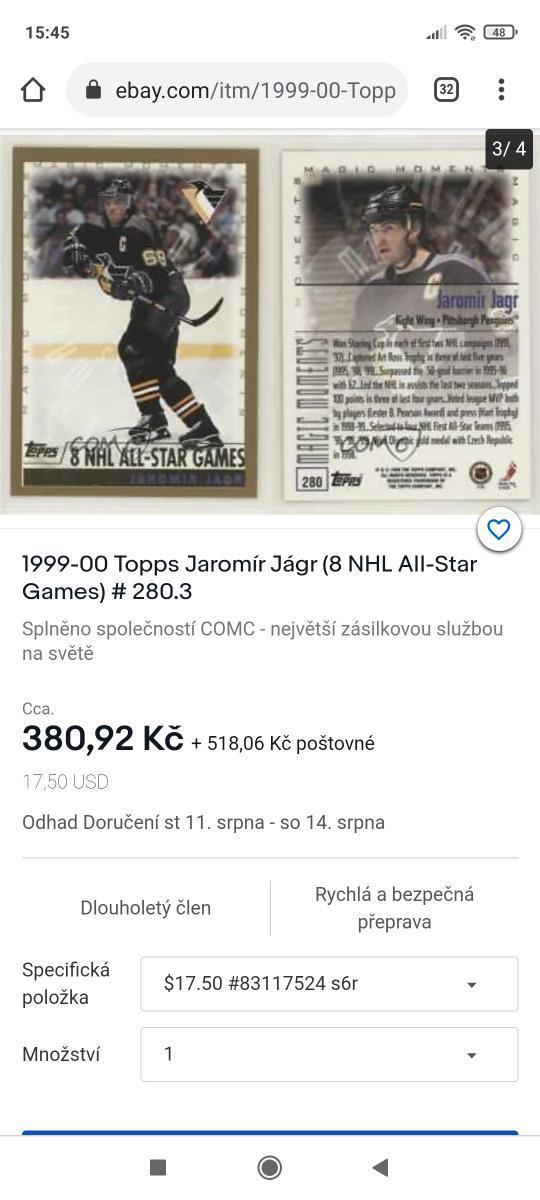 Jaromír Jágr/Top stav. - Sportovní sbírky