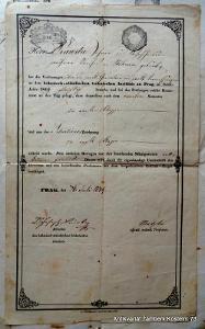 1849 potvrzení o návštěvě na Českém stavovském technickém institutu