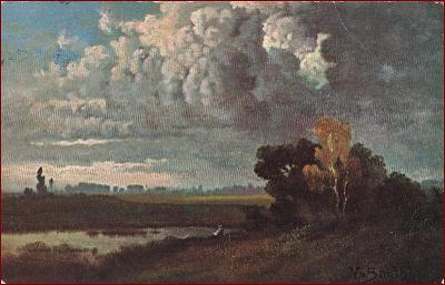 Večerní motiv * rybář, stromy, mraky, krajina, umělecká * X099