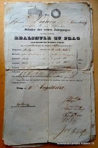 1847 vysvědčení z Pražské reálky