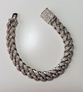 Náramek Cuban Chain Hip-Hop Jewelry Bílé Zlato, White Zirconia 8 inch