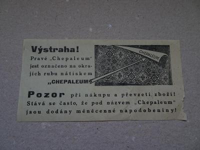 Účtenka reklama CHEPALEUM napodobeniny