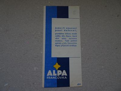 Účtenka reklama Alpa Francovka