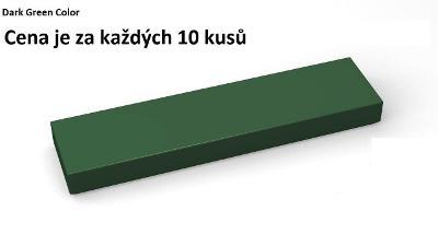 LEGO dílek 10 kusů Tmavě zelená Dark Green Tile 1 x 4 - 2431
