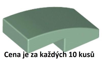 LEGO dílek 10 ks Pískově zelená Sand Green Slope, Curved 2 x 1 -11477