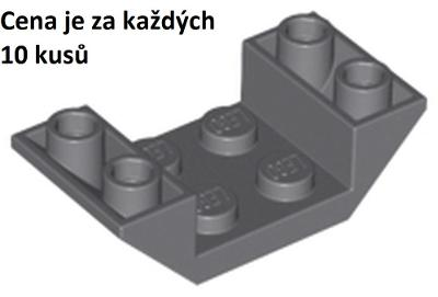 LEGO dílek 10 ks Dark Bluish Gray Slope, Inverted 45 4 x 2 č. 4871