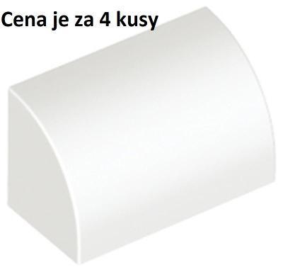 LEGO dílek 4 ks bílá White Slope, Curved 1 x 2 x 1- 37352