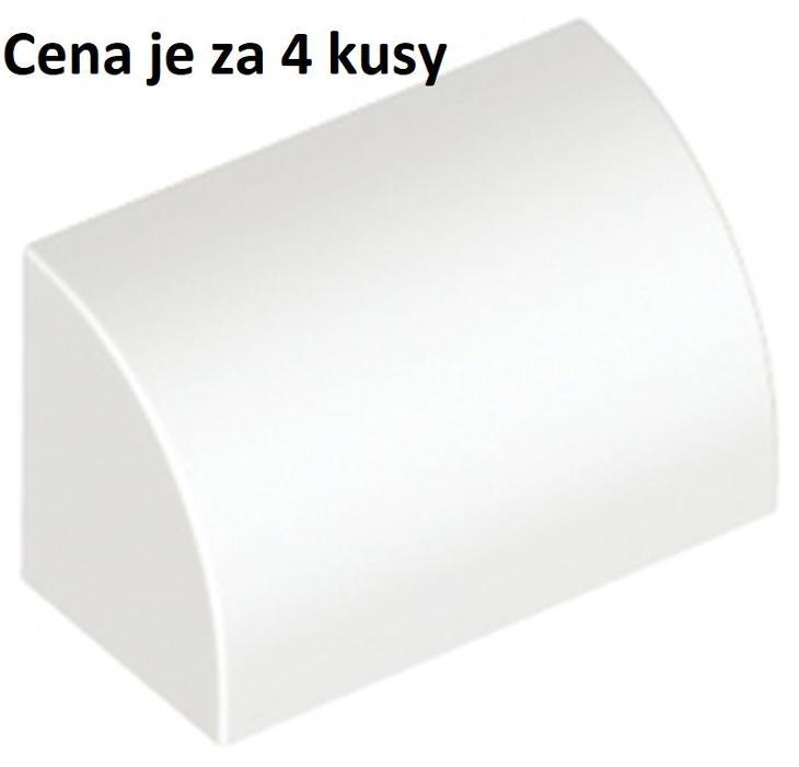 LEGO dílek 4 ks bílá White Slope, Curved 1 x 2 x 1- 37352 - Hračky