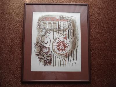 Originál barevná litografie Múzy - Zálešák